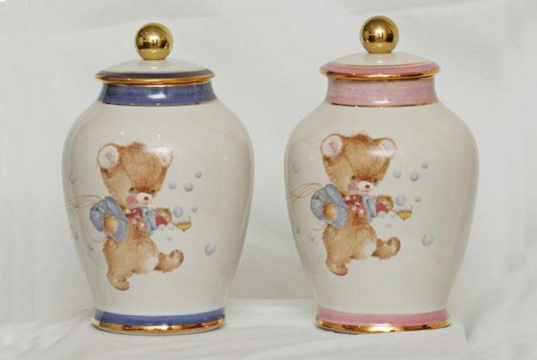 Baby Ceramic Teddy Bear Cremation Urn