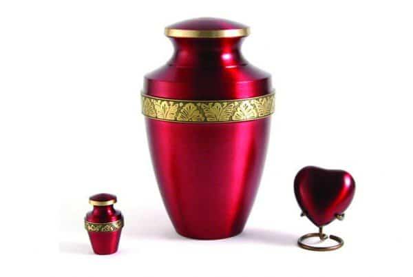 Grecian Crimson Cremation Urn